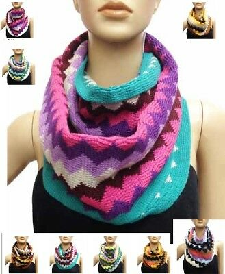 NEW WOMENS MONROE /& MAIN MULTI COLOR ZIGZAG PRINT KNIT INFINITY SCARF