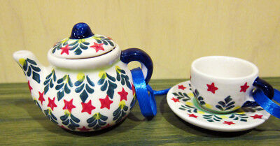 Boleslawiec Polish Pottery Christmas Holiday Teapot + Cup/Saucer Tree Star New