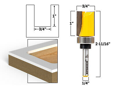 "3/4"" Diameter Flush Trim Template Router Bit - 1/4"" Shank - Yonico 14090q"