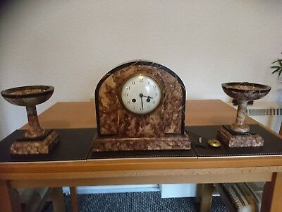Rouge Marble  Garniture French Clock Set  on bell 8day fully working side earns
