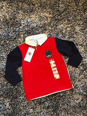 New With Tags - Petit Bateau Collared Top - 18 Months Red Grey Navy