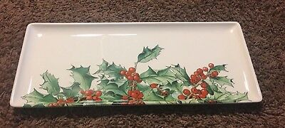 "Rare GIEN Of France ""Holly"" Oblong Serving Tray  Christmas HTF New"