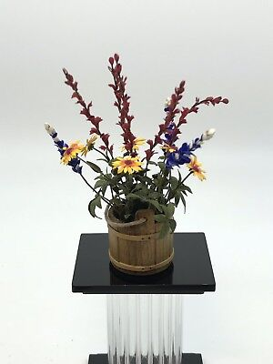 Dollhouse Miniature Artisan Flower Arrangment Sir Tom Thumb Barrel (R)