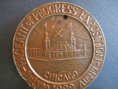 1922 Pageant Of Progress Exposition Bronze Medal, Chicago. Plus Postal Stamp