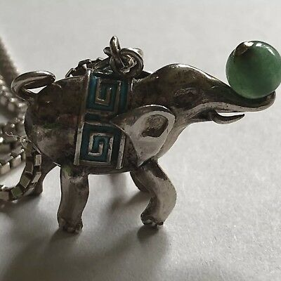 Solid Silver Vintage Elephant Necklace Magnetic Clasp jade ball box chain heavy