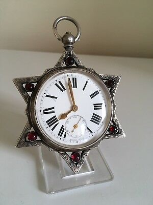Rare Unique  Huge Antique Solid Silver Masonic Pocket Watch , 1 of A Kind ! GWO