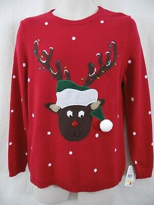 BRECKENRIDGE Mens M Pullover RED Cotton Blend Christmas Holiday Rudolph Sweater