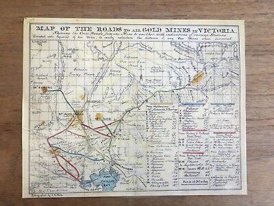 1853 J.b.phillip 'map Of The Roads To All Gold Mines In Victoria' Reprint (F7P6)