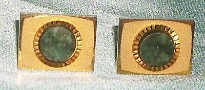 Vintage ~ Gold Tone Green Faux Gem Stone Old Estate Cufflinks ~ Collectable