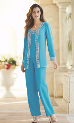 Nitara Formal Dress Turquoise Beaded Pant Suit Set Midnight Velvet 1X 2X 3X PLUS