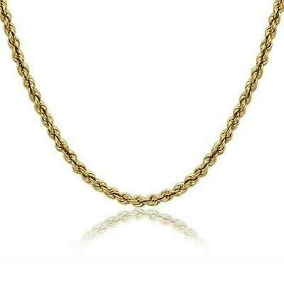 Real 10K Yellow Gold 2mm Diamond Cut Rope Chain Pendant Necklace 24''