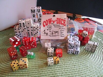 Vintage Lot Of Over 60 Dice, Different Sizes,Colors,Some Wooden