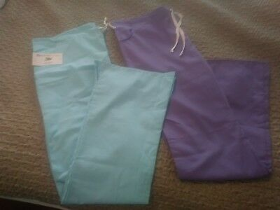 women's scrubs pants*large Tall* Scrubeez* Lot of 2* light blue and lavender*NWT