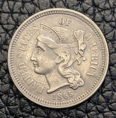 1865   Three-Cent Piece Nickel 3 Cent High Grade AU   Nice Coin !