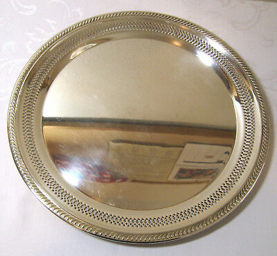"""FB Rogers Silverplate 12 1/4"""" Round Tray, Pierced Edge Design No Engraving"""