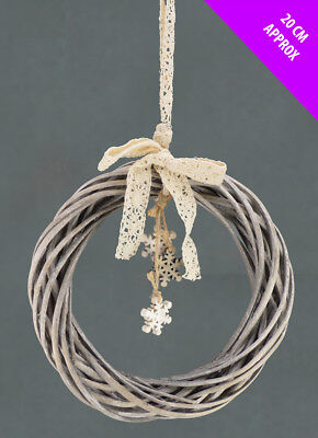Natural Willow Wreath with Small Snowflakes ( 20 cm ) . Christmas Decoration.
