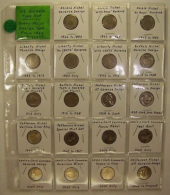 High Grade Type Set of US Nickels with All Major Varieties, 1866 to Date