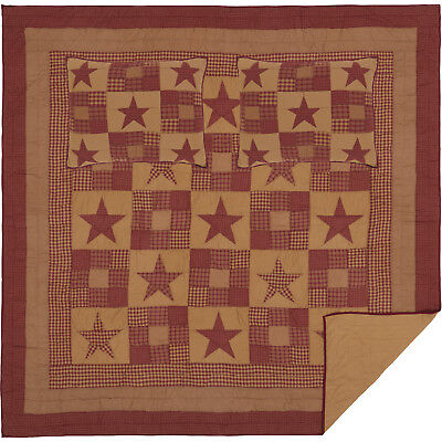 9 Pc Primitive Star Quilt Sets Twin Queen Cal King Nine Patch