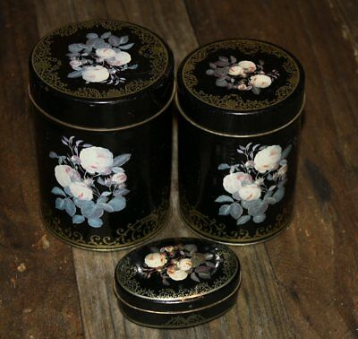 Vintage Antique Hand Painted Tole Toleware Canisters Set of 3 black crackled