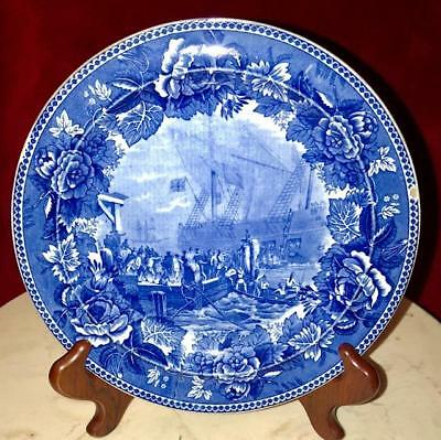 "Flow Blue Wedgwood ""The Boston Tea Party"" Collectible Plate"