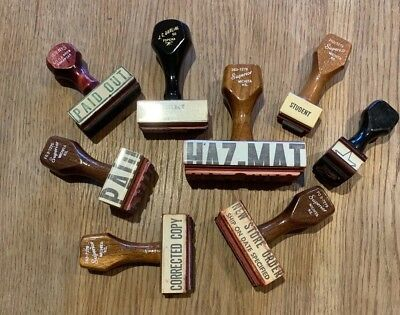 Vintage Lot of Rubber Hand Stamps Wooden Handle Haz Mat Paid Out Student Copy