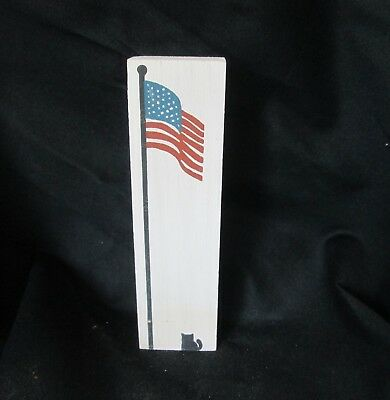 Vintage Cats' Meow Cat and U.S.  Flag Old Glory 1988 Collectible