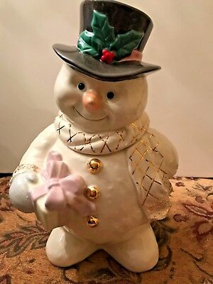 Brand New Lenox Collections The Snowman Cookie Jar