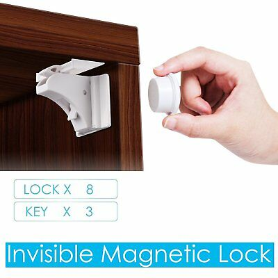 4/6/8 Invisible Magnetic Baby Child Pet Proof Cupboard Door Drawer Safety Lock
