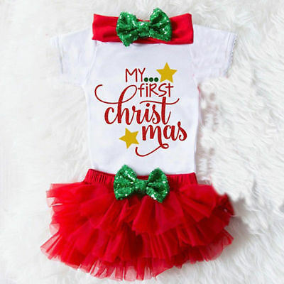 AU Christmas Newborn Baby Girls Top Romper Tulle Skirt Pants Outfits Clothes NEW