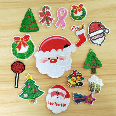 Christmas Patches Sew On Iron On Badge Applique Bag DIY Craft Sticker Transfer