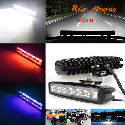 3 Colors 18W/800LM 6 LED Work Bar Driving Spot Fog Light Offroad Car Lamp Truck