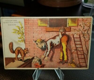 Vintage 1880s Trade Card - Singer Sewing Machines Robbery & scary cat