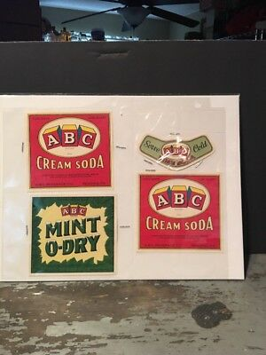 Set Of (4) ABC Beverages Reading Pa Soda Labels Set New Old Stock