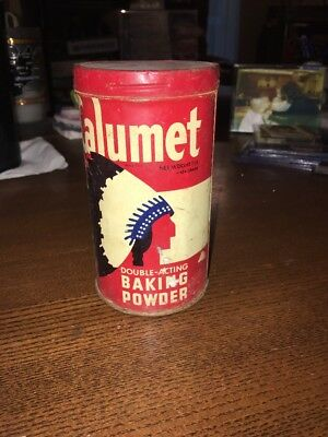 VTG CALUMET BAKING POWDER TIN 1 Lb W/LID ADVERTISING TIN