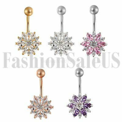 14G Belly button Ring Zircon Flower Dangle Piercing Navel Jewelry Surgical Stud