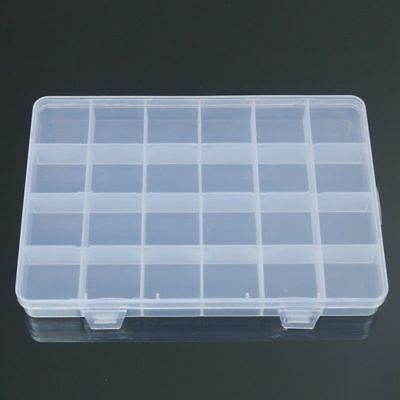 24 Compartments Plastic Box Case Jewelry Bead Storage Container Craft Organizer