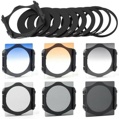 6 pcs Graduated ND 2/4/8 Filter kits 3 color & 9 pcs Ring Adapter For Cokin P SW