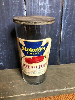 Vintage Rare Stokely's Finest Cranberry Sauce Jar 14 1/4 oz.