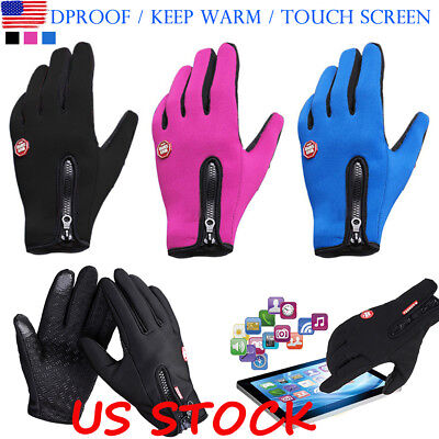 US Mens Womens Full Finger Gloves Waterproof Thermal Warm Touch Screen Mittens