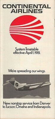 Continental Airlines system timetable 4/1/81 [308CO] Buy 2 Get 1 Free