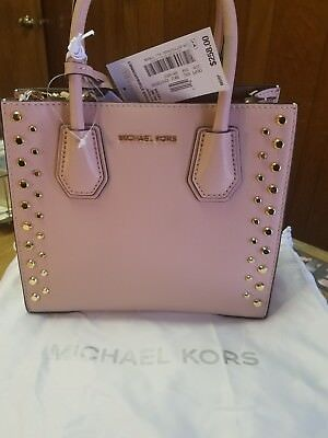 c90264c0a17c MICHAEL KORS MERCER ballet Pink GOLD STUD medium MESSENGER BAG NEW NWT $258