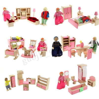 Xmas Gift Wooden Doll House Miniature Family Children Furniture Set Kit Toys