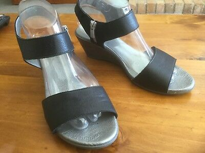 Ladies Sandals, JOSE SAENZ for NEO, Black Leather With Pewter Wedge, Size 41(10)