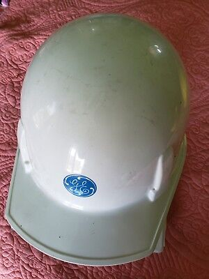 Vintage White Hard Hat-Fiberglass-GE-General Electric-Construction-Halloween?