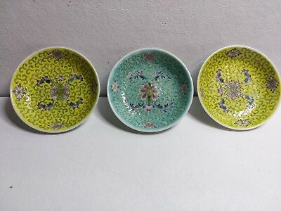 Lot of 3 Vintage Floral Design Chinese Porcelain 4 Inch Round Plates