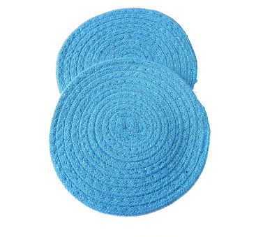 "Woven Trivet 2 Piece Set 7.5"" Round Counter Top Protection (Blue)"