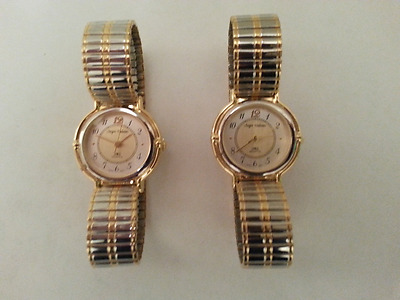 QUARTZ STRETCH BAND WATCH WITH NUMBERS TWO TONE/ 2 PACK/w/extra FREE battery
