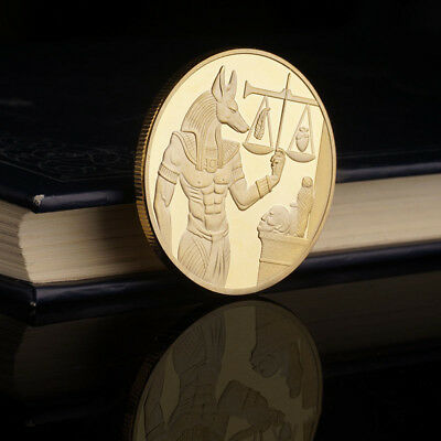 God of Death Egyptian Guardian Mummification Anubis Coin Badge Collectible Gift