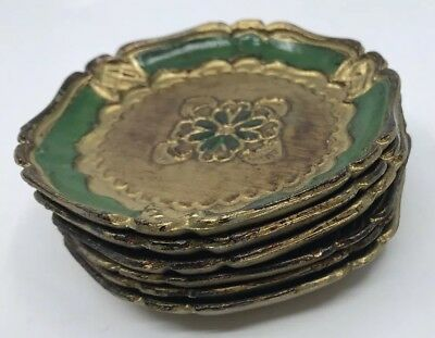 """Set of Six (6 )Vintage ITALIAN COASTERS MADE IN ITALY Hand Painted 4"""" diameter"""