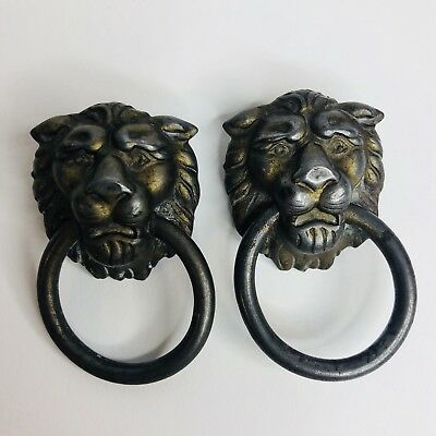 Antique Lion Head Drawer Pull Lot Of 2 Unmarked